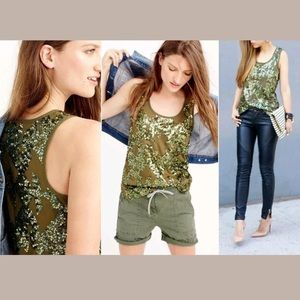 J. crew sequin tank top 'misty forester' L7